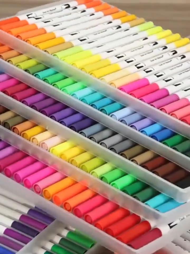 2020 Best selling products 24 colors Amazon Fine Flexible Dual Tips Brush Watercolor Brush Pen set Art Marker