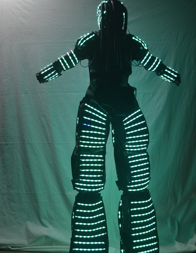 Lifesize Colorful Switching Adults LED Light Robot Costume For TV Show