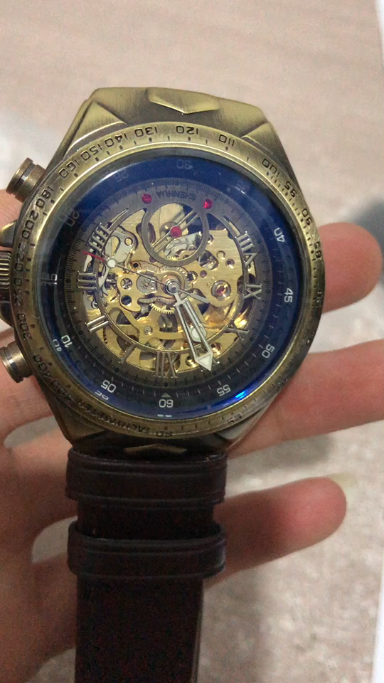 SHENHUA 02 นาฬิกา VINTAGE อัตโนมัติโครงกระดูกนาฬิกา Mechanic Winding นาฬิกาผู้ชาย