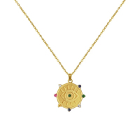 Rainbow 925 silver jewelry evil's eye coin bohemian necklace