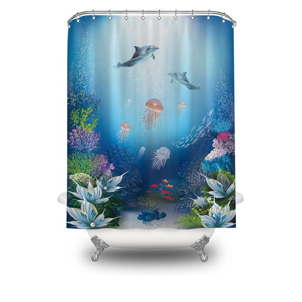 China Coloridos peces PEVA cortina de ducha resistente al