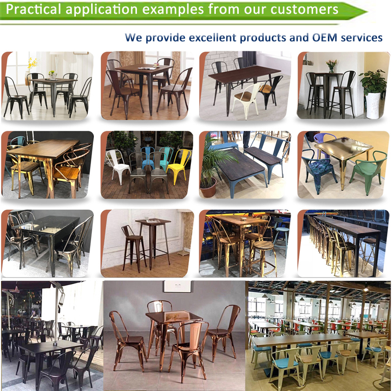 Großhandel stapelbar cafe bistro metall holz sitz restaurant vintage design industrie metall esszimmer stuhl