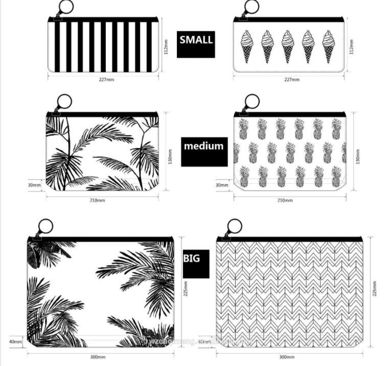 PVC Phân Hủy Sinh Học Dây Kéo Mờ Pouch Với Palm Tree In Đầy Đủ Bãi Biển Dệt Phòng Tập Thể Dục Xà Cạp Sexy Đồ Bơi Túi Ziplock