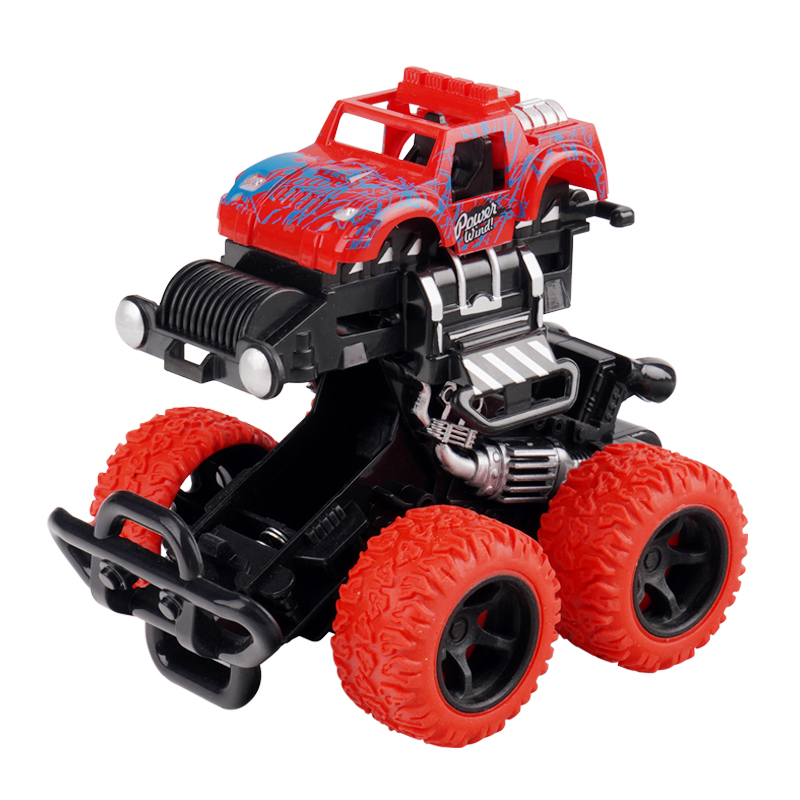 Child stunt pull back truck set friction racing plastic kids car vehicle 4WD toys Impact deformation