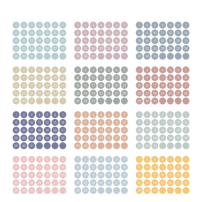 12 шт винтажная цветная Bullet Journal наклейка s 365 дней наклейка ежедневная наклейка на планировщик дневник 2020 полный год декоративные аксессуары(Китай)