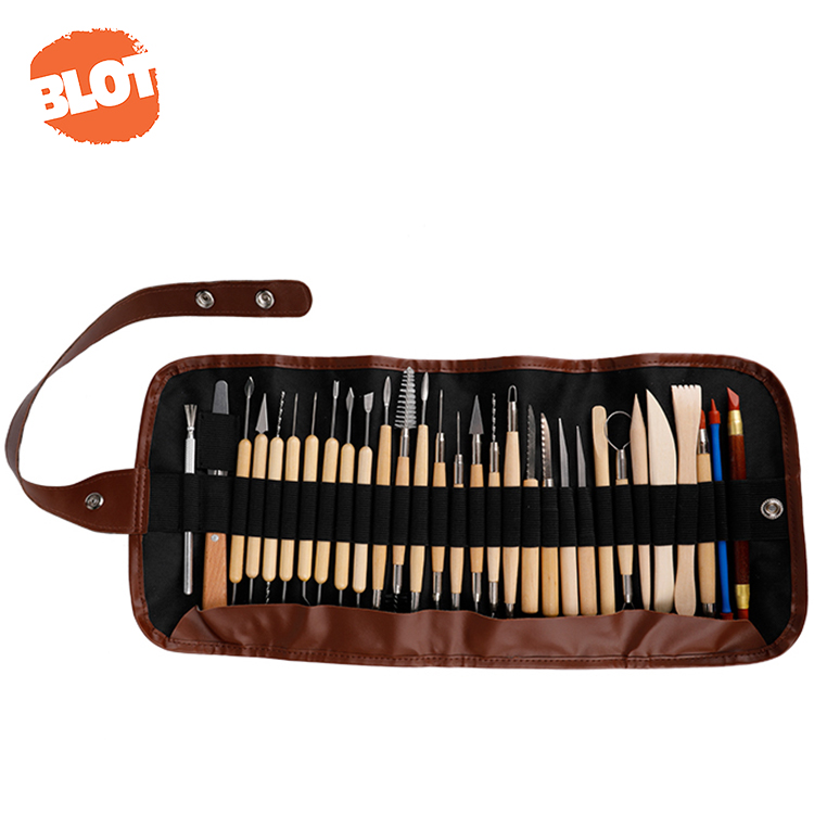 BLOT JR5-16 30pcs Professional Artists Roll Bag Wood And Stainless Steel Pottery Clay Sculpturing Tools Set