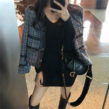 Женский твидовый пиджак, длинный хлопковый пиджак в клетку, деловой пиджак для осени и зимы, 83, 2019(Китай)