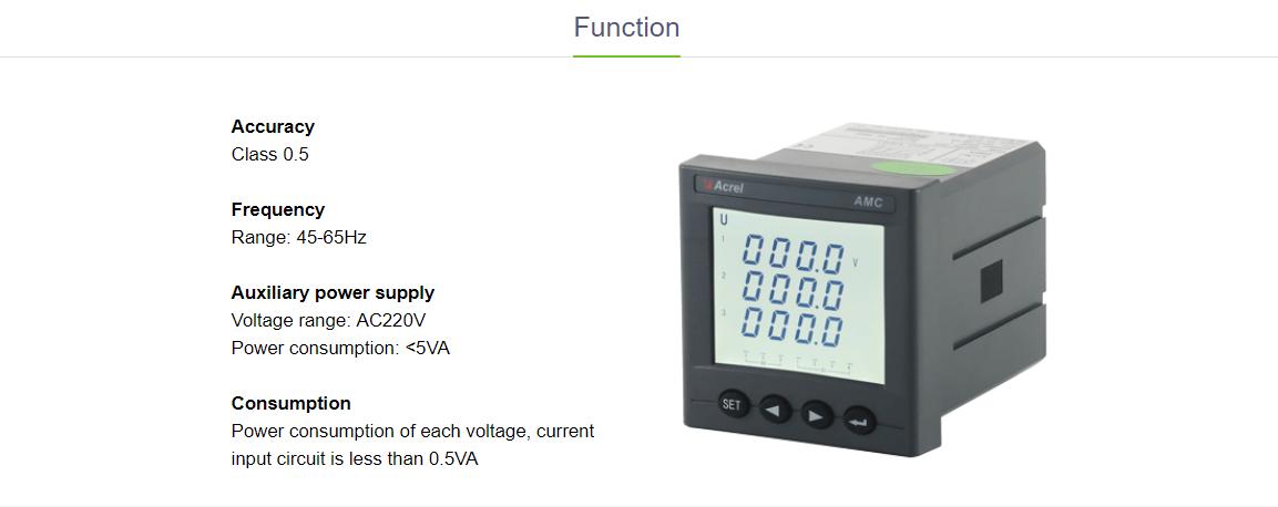 Acrel single phase programmable intelligent  power meter watt mater AMC72-E 75*75mm LED display