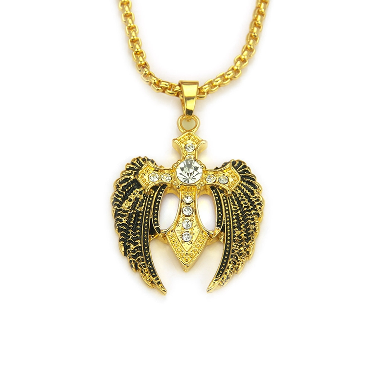 Fashion Hiphop Zinc Alloy Coross With Wings Pendant Gold Plated Wing Necklace