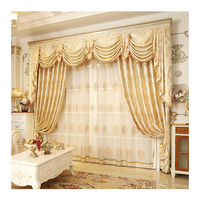 Hot Sale Window Luxury Living Room Jacquard Curtain With Valance, Online Store Livingroom Curtain Cloth/