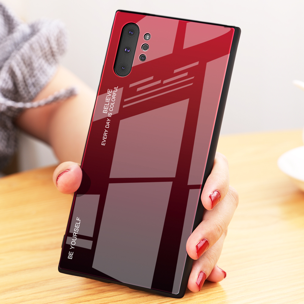 New Product Gradient Hard Tempered glass TPU Phone Case Cover For Samsung Galaxy Note 10 Pro