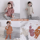 3354/Fashion cotton girls baby winter boutique clothing kids stripe sets coat shorts rabbit ears hat three piece