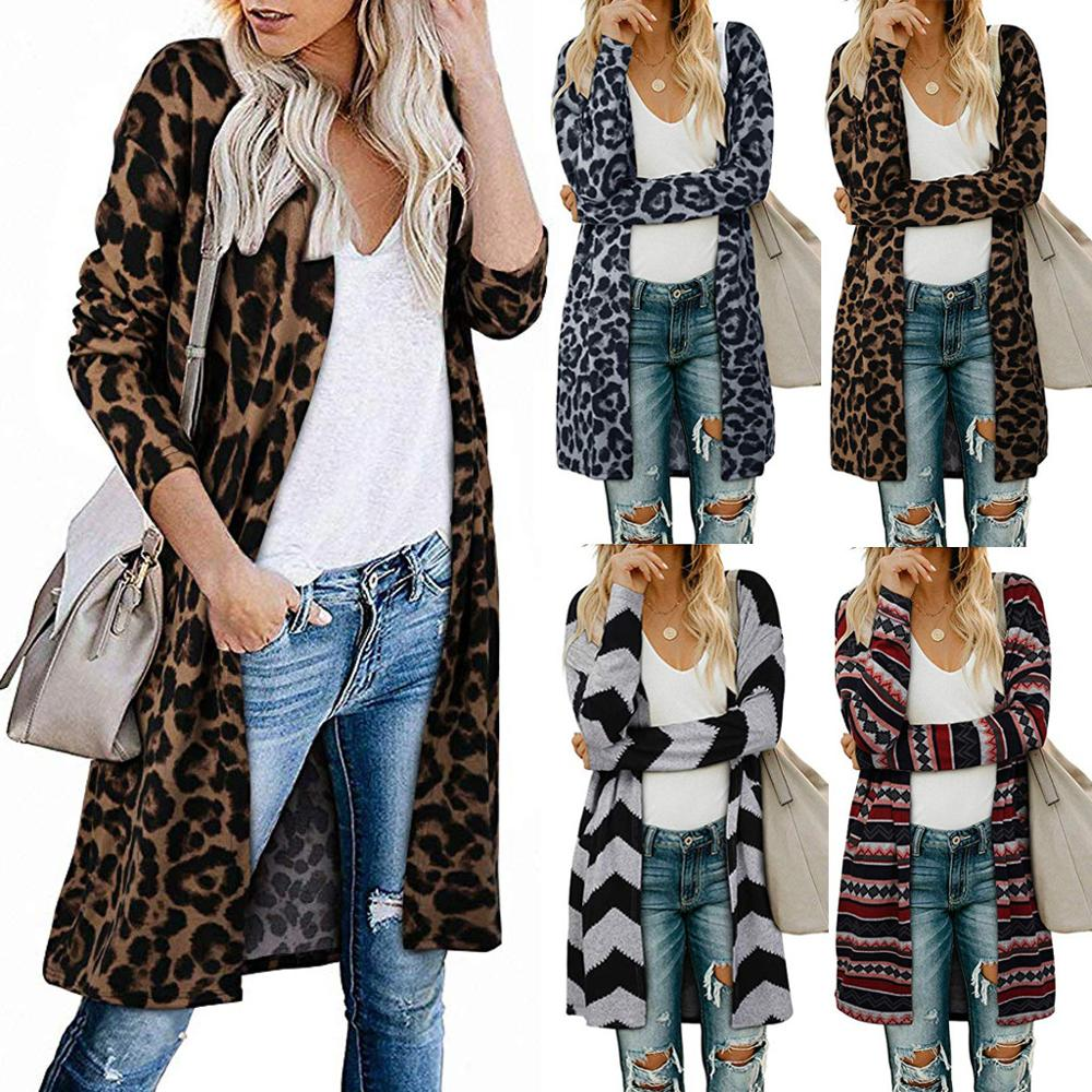 Women's Open Front Leopard&amp;plaid <strong>Cardigan</strong> with Pockets <strong>Long</strong> Sleeve Lightweight Sweater Coat