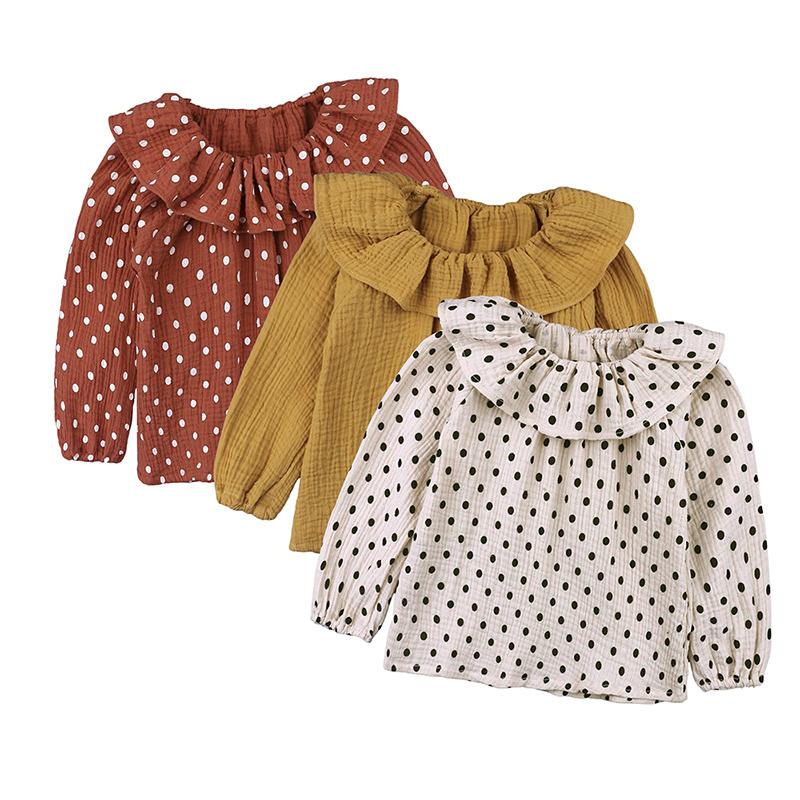 2020 नई वसंत बच्चे लड़की में सबसे ऊपर पीटर पैन कॉलर कपास लिनन किशोर शीर्ष फैशन लड़की टी शर्ट लंबी आस्तीन ढीला टी शर्ट के लिए लड़कियों