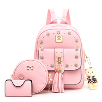 Top Quality Korean Fashion PU Leather Backpack Set 3 Pcs in 1 for girls backpack bag school