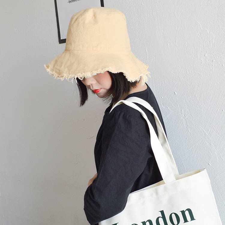 fashion girls simple casual edging foldable fisherman hat women plain wide brim sun protection bucket hat with custom logo