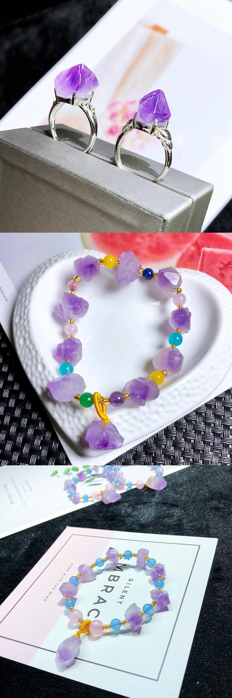 Love gifts for valentine's raw amethystjewelry bracelets amethyst jewelry bracelet customized women