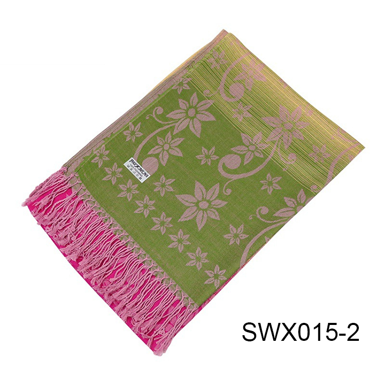 Cheap Wholesale Winter Ladies Pink Viscose Polyester Scarf