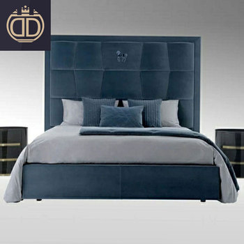 king size purple simple fabric modern double post modern elegant blue velvet and genuine leather bed