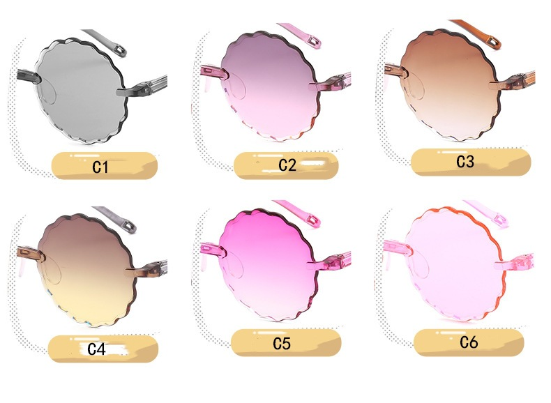 2020 Fashion Retro Children Flower Shape Sunglasses Candy Color Sun Glasses UV400 Rimless Round Sunglasses for Girls Boys Baby