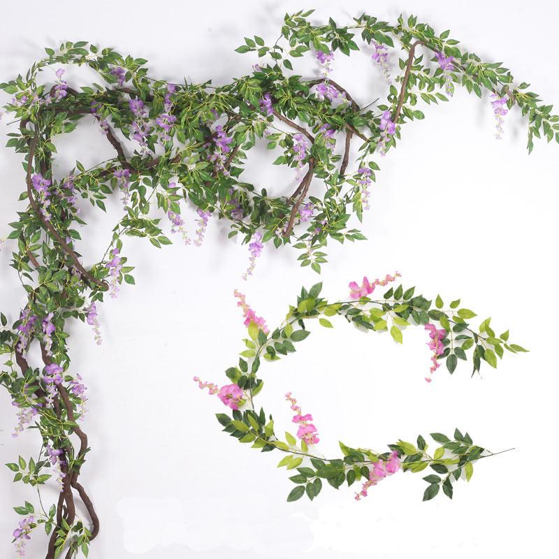 Buatan Kain Sutra Rumah Pernikahan Dekorasi Bunga Wisteria Vine