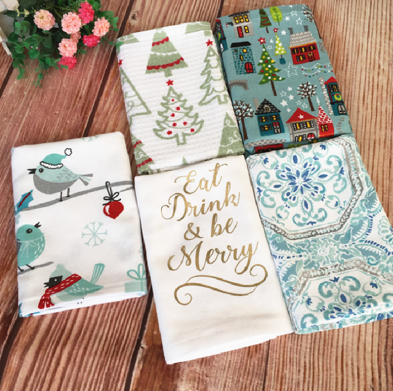 Super absorbent soft 100% organic cotton Merry Christmas tea towel dish towel in different designs from China supplier
