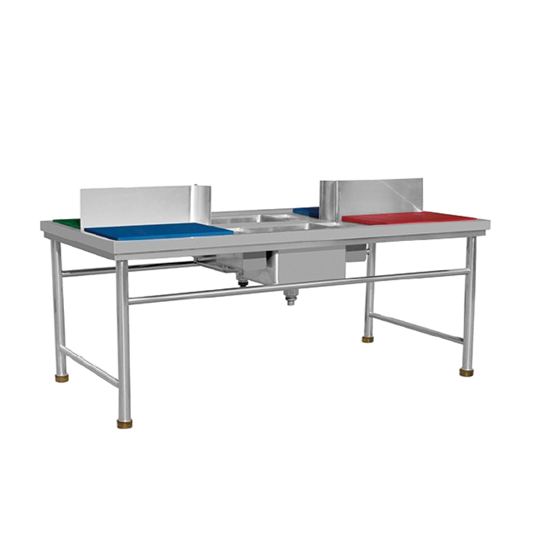 2000mm Meat Preparing Work Table With Double Sinks and Chopping Blocks
