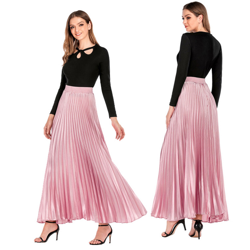 Summer Pleated Skirt Womens Vintage High Waist Skirt Solid Long Skirts New Fashion Casual Metallic Skirt Female