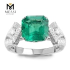 Messi Gems 6ct green emerald women ring luxury designs moissanoite ring in 14k 18k white gold jewelry