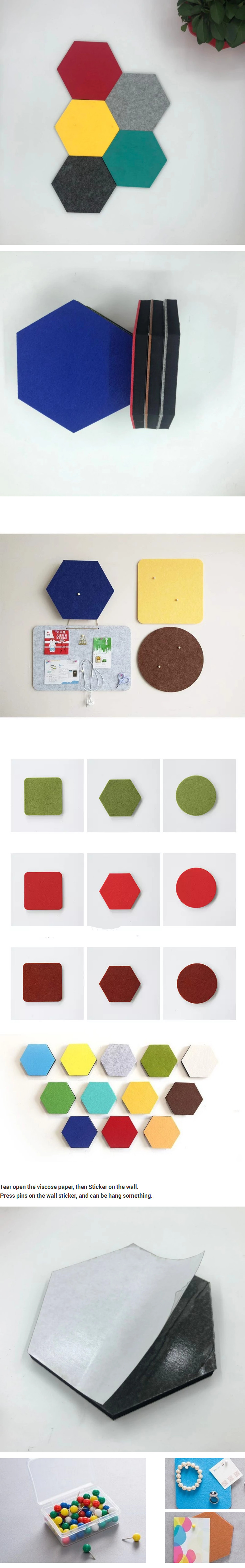 Self adhesive cork pin sandwich felt board memo ตกแต่ง swatch wall