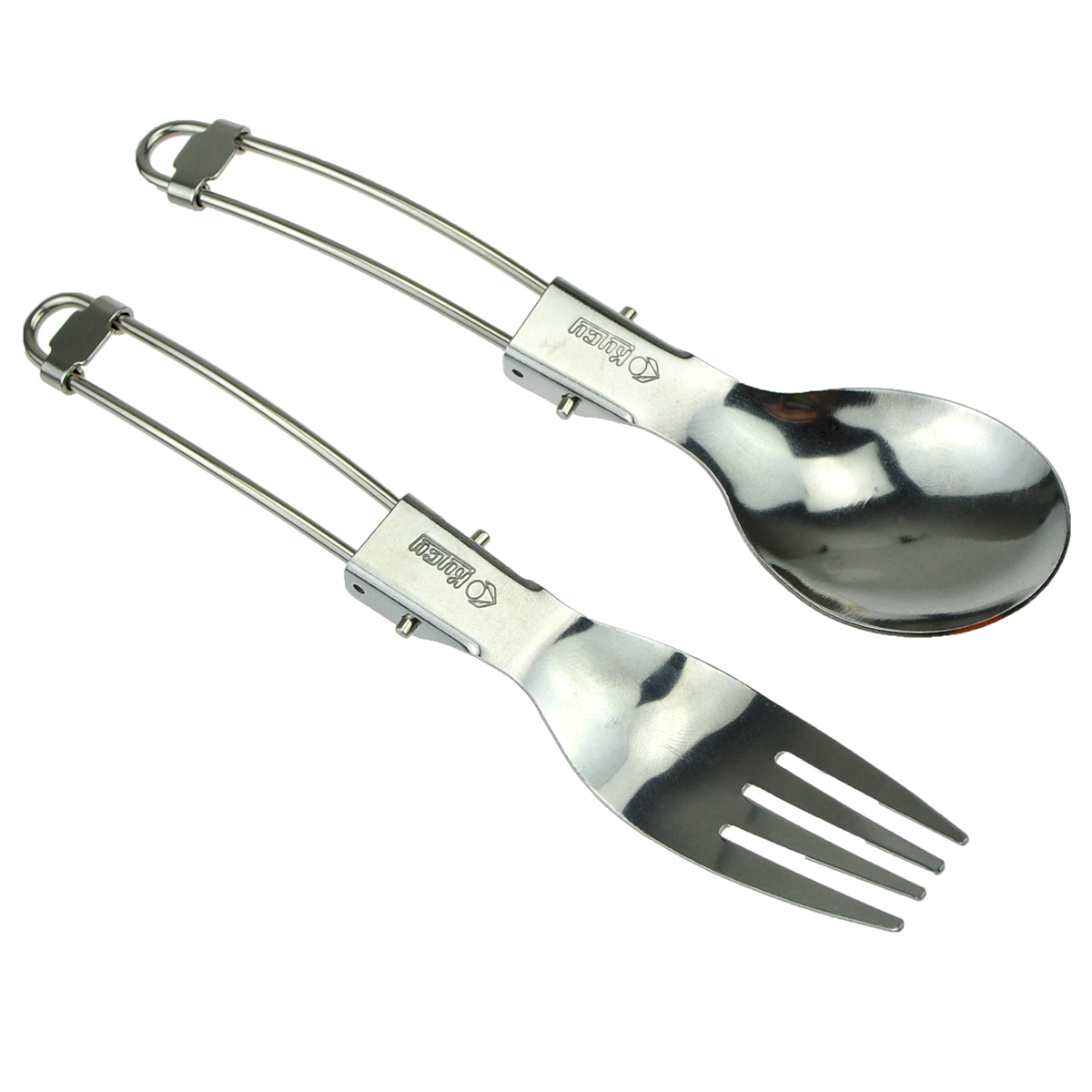Stainless Steel Foldable Spoon Fork Set for Outdoor Camping Hiking Picnic
