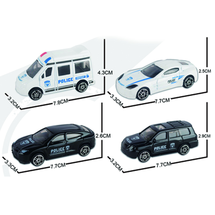 1:64 alloy police car kid's mini toys car pull back to the die-casting car 4 mixed <strong>models</strong>