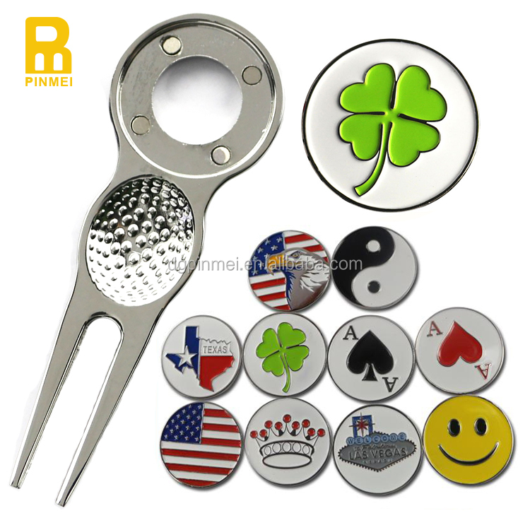 Nickle plated golf club product including golf divot tool with lucky clover ball marker