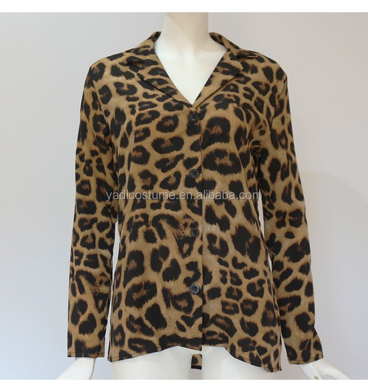 Chiffon Womens Tops And Blouses Sexy V Neck Leopard Shirt Long Sleeve Office Ladies Tops Turn Down Collar Blusas Mujer Verano