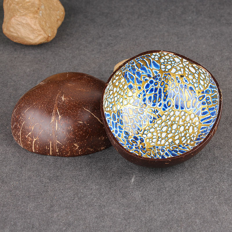 Reusable Colorful Pattern Colourful Natural Jewelry Eggshell Durable Ceramic Wedding Candy Vietnam Colorful Coconut Bowl