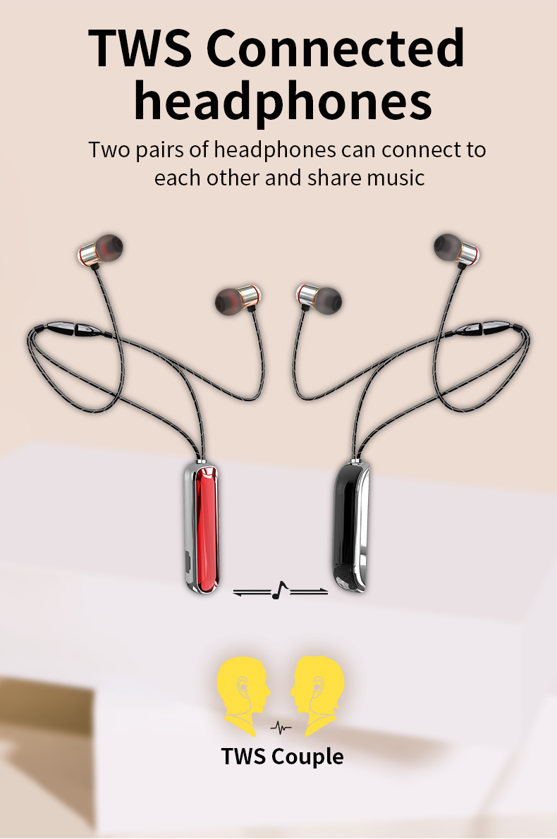Light and portable long lasting power neck wireless Bluetooth headset earphone for exercising