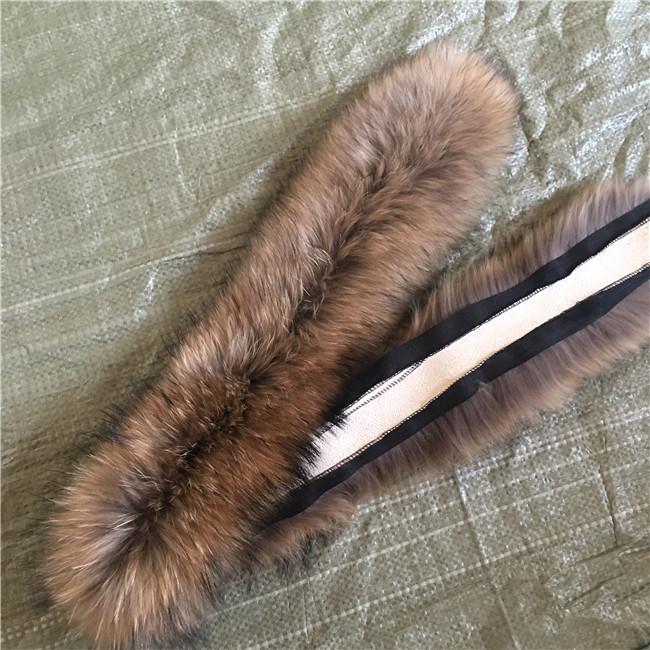Large Natural Raccoon Fur Hood Trim for garment