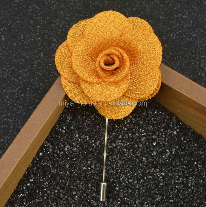Tuxedo Suits Brooch Flower Lapel Pin / Women Men Fabric Rose Long Brooches / Dress Wedding Party Accessories