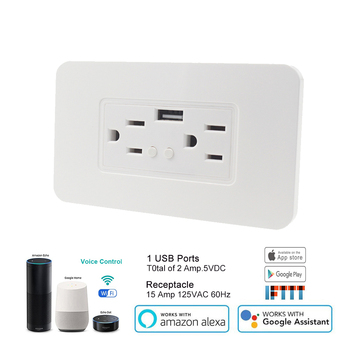 15A US type double plug Wifi Smart Wall Socket with USB Port Receptacle with DC 5V 2.4A Dual USB Wall Charger US Plug