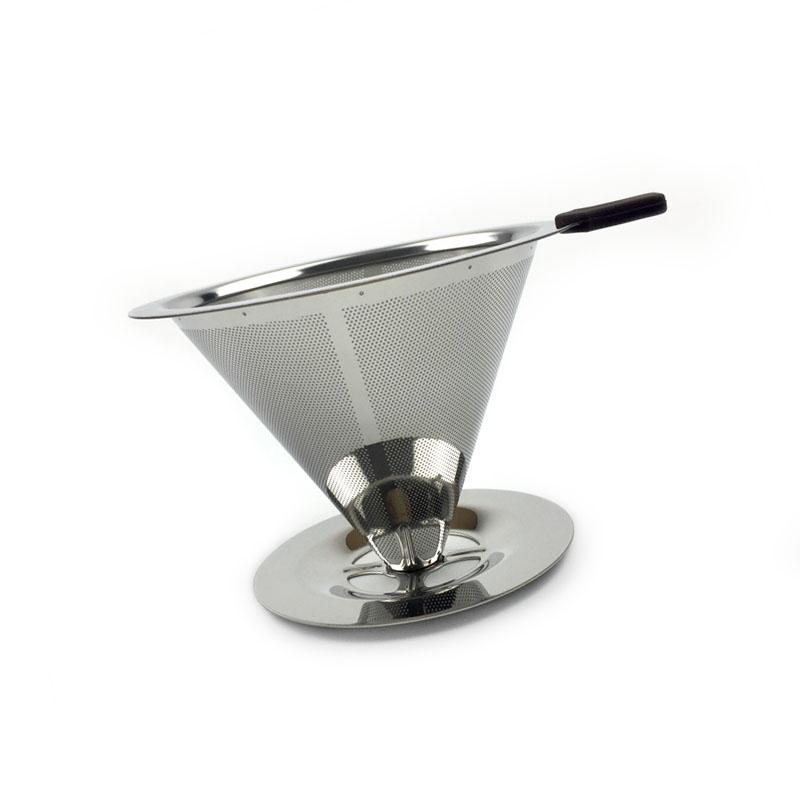 Многоразовый фильтр для капельного кофе из нержавеющей стали 1-4 чашки безбумажной залить Эспрессо кофеварка металлическая сетка конус Вор...(Китай)