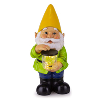 Resin solar powered LED light outdoor decor statue custom cheap gnome garden