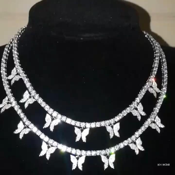 Vendita calda in ottone donne hip hop gioielli in oro placcato 2mm farfalla tennis collana