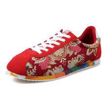 Мужские парусиновые кроссовки с цветочным принтом, черные, красные повседневные кроссовки на шнуровке для бега(Китай)