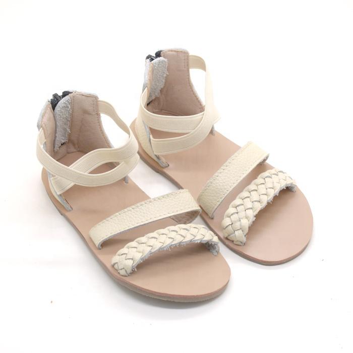 wholesale women girl ballet flat braided design kids leather sandals