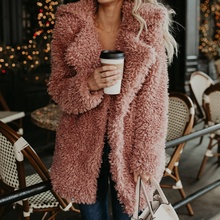 2020 Warm Roze Luxe Turn Down Kraag Pluizige Fleece Lange Plus Size Dames Faux Fur Winterjas Vrouwen