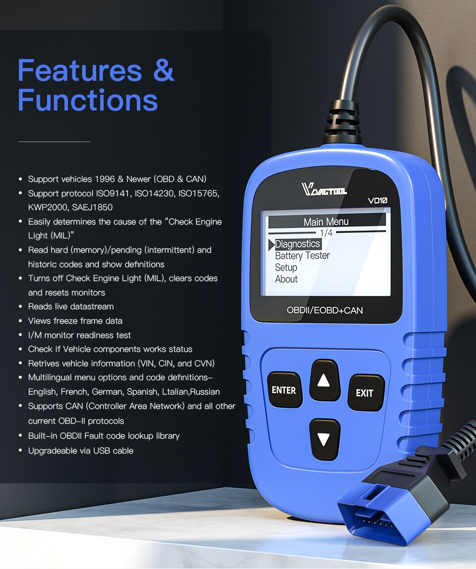 Vdiagtool Scanner Car OBD2 VD10 Vehicle Code Reader OBD2 Scan Tool Check Fault