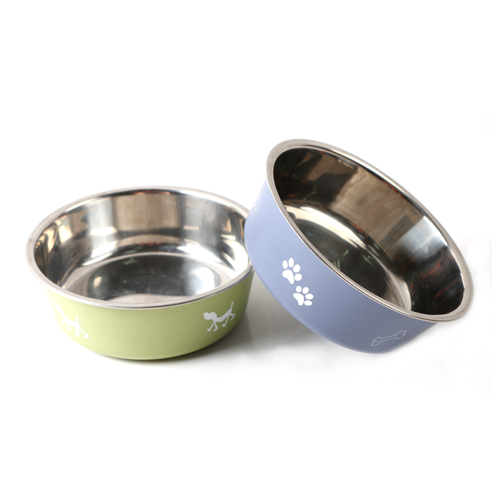 Printed Patterns Durable Double Wall Stainless Steel <strong>Dog</strong> <strong>Bowl</strong> With Non-skid Rubber Bottom