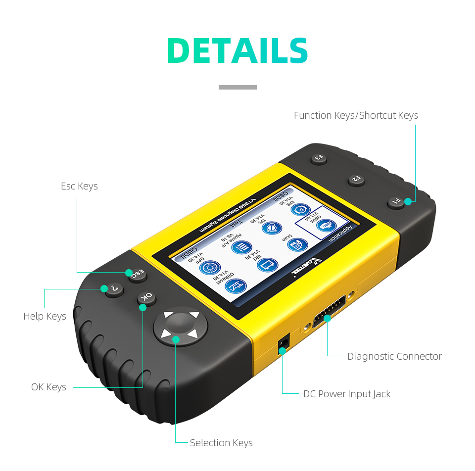 VDIAGTOOL VT360 OBDII Car Diagnostic Tool ABS Airbag SAS BRT EPB DPF TPA TPMS Immo Oil Reset Injector OBD2 Automotive Scanner