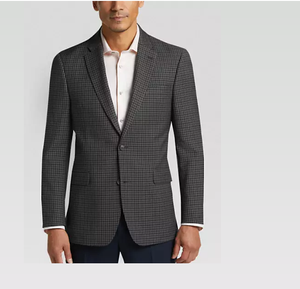 Comfortable Classic Fit Gray Check Sport Coat