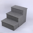 Wegifts pets storage three layers linen material foldable luxury pet stair for sofa and bed